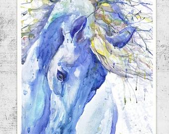 Horse art, equine painting, watercolor, horse print, watercolour animal, equine decor, equestrian gifts, animal art, horse head, horse gifts
