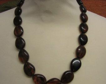 Vintage dark amber flat plastic bead necklace