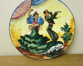 Vintage hand-painted Flamenco dancers wall plate