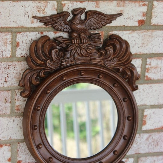 Vintage style federal eagle porthole metal mirror by for Porthole style mirror