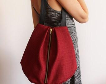 ROME tote, Red shoulder bag - Everyday Bag / Vegan tote bag - Zipper bag / Fabric tote bag