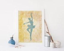 PRINTABLE Art Ballerina Art Print Ballet Art Print Yellow Ballerina Nursery Decor Dancer Art Print Dancer Wall Art Ballerina Poster