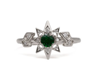 Emerald Art Deco Star Engagement Ring - 14K White Gold and Emerald engagement ring, Star ring, vintage, Unique Engagement Ring, 2
