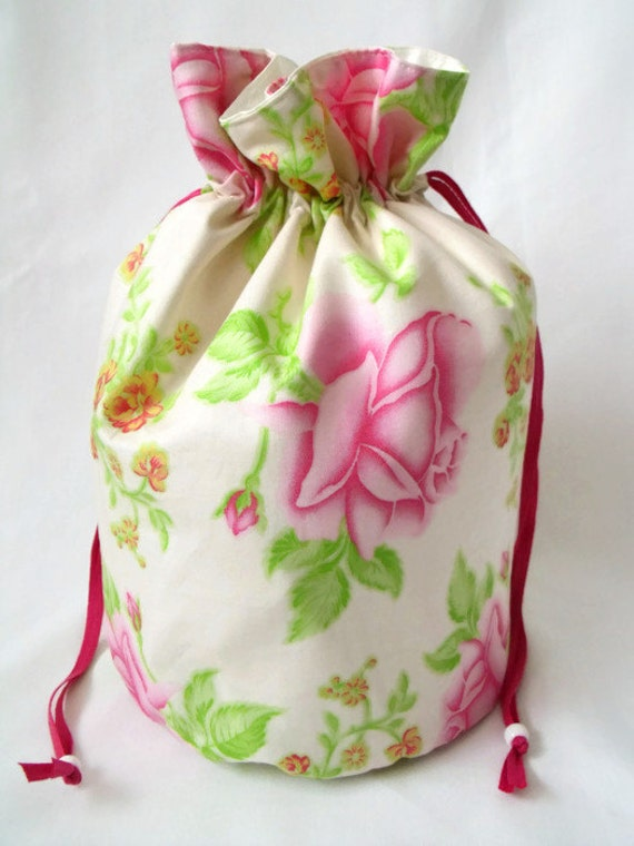 seconds, cosmetic bag, make up pouch, drawstring bag, toiletry bag, cosmetic holder, make up tidy, waterproof liner, floral cotton fabric