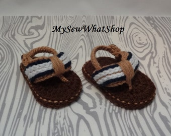 Baby Boy Crochet Flip Flops - 0 to 6 Months and 6 to 12 Months