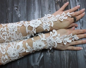 Long Bridal gloves, White Lace bridal gloves beads fancy, Fingerloop lace gloves french lace gloves, Wedding gloves