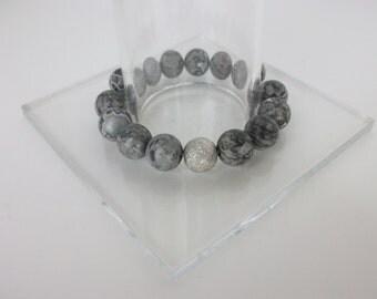 Gemstone Beaded Bracelets/Jasper Beaded Bracelet/Gemstone Stretch Bracelet/Scenery Jasper Bracelet/Celebrity Stack Bracelets/Layering/B0152