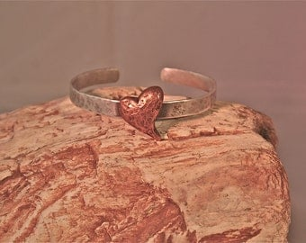 Puffy Copper Heart on Sterling Silver Cuff