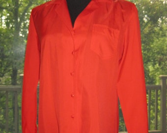 SALE: 80s Red Shirt Blouse, Vintage Red Miller Brothers Button Up Career Blouse Size 14 M Medium to L Large