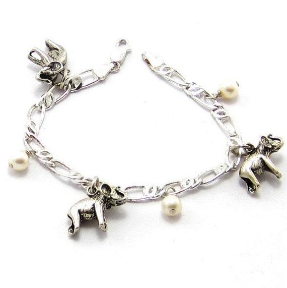 elephant charm bracelet sterling silver bracelet by
