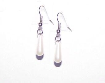 Pearl Teardrop Earrings - Dangle / Drop / White / Simple / Tear Drop