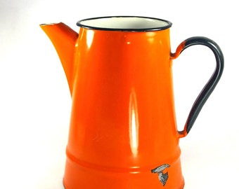 Vintage orange enamel pitcher jug vintage retro enamelware shabby chic vase water Polish