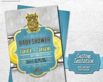 Owl Baby Shower 4x6 or 5x7 Custom Invitation - DIY - Printable Owl Baby Shower Invitation- Print at Home or Order Prints! Nerd Owl Glasses