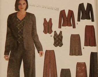 2002 UNCUT Sewing Pattern, SIMPLICITY 5792. US Size 12-20. Pant Suit Combo with Skirt, Waistcoat