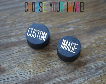 Custom image ear plugs wooden Gauges 4,5,6,8,10,11,12,14,16,18,20,22,24,26,28,30-60mm;6,4,2g,0g,00g;1/4,5/16,3/8,1/2,9/16,5/8,3/4,7/8,1 1/4""