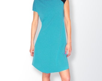 Turquoise/Black Colorblock Asymmetric Tunic/ Dress/Casual Tunic/Comfortable A-Shaped Tunic/Dress