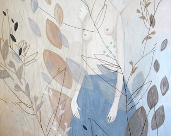 Gentle Painting-Pastel Tones-Beige-Blue-Gray-Angel-Thin Twigs