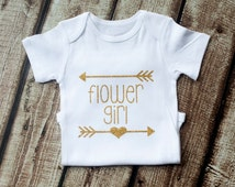 Flower Girl, Onesie, Flower Girl Shirt, Flower Girl Gift, Baby Girl Wedding Shirt, Glitter Arrow Heart, Flower Girl Outfit, Girl's Wedding