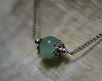 Simple Amazonite necklace on reclaimed chain