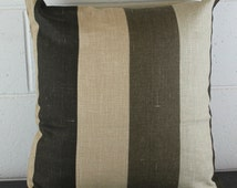 Unique European 100% French Linen Fabric Cushion Scatter Pillow in Mocha Stripe by Peacock and Penny. 50cm x 50cm