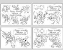Personalized Skylanders Birthday Party Printable Favor childrens coloring pages activity PDF  file