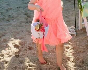 Seashell rose petal basket