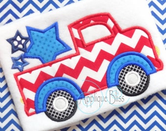 Truck with Stars Applique Design - July 4th - 4th of July - Independence Day - Monogram - Machine Embroidery