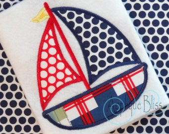 Sailboat Digital Applique Design - Nautical - Sailing - Boating - Monogram - Machine Embroidery
