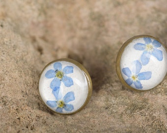 VERGISSMEINNICHT - Stud Earrings with real Forget-me-nots, Flower Jewelry, Real Dried Blossoms in Resin, Flower Jewelry, Resin Jewelry