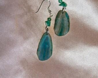 Teal Agate Earrings