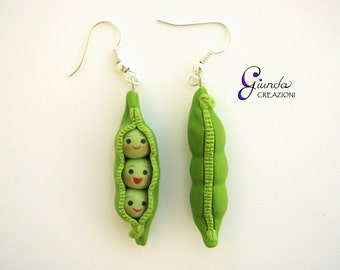 Peas in a pod, Toy Story, earrings, handmade, polymer clay