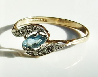 Vintage 9ct 9k Gold Blue Topaz & Diamond Ring Size 7 - N 1/2