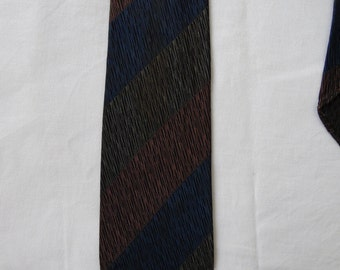 Mens Vintage striped tie cravate 80's dark blue green rust retro French neck tie cravate