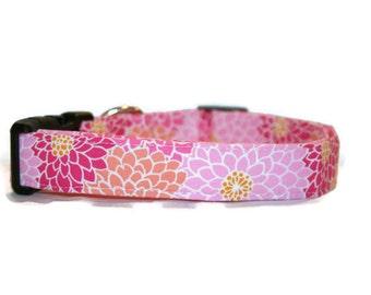 Pink and Orange Floral Dog Collar
