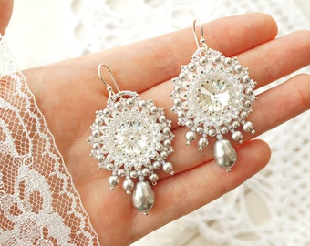 "Bead woven earrings ""Silver"". Beadwoven earrings with Swarovski crystal and pearl. Beaded earrings. Bead weaving, beadwork"