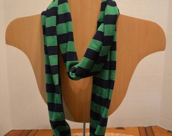 Green/Navy Striped Infinity Scarf