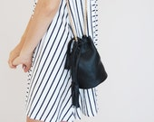 Black bucket bag, bucket purse, drawstring bag, leather crossbody, black crossbody bag, shoulder bag, black shoulder bag