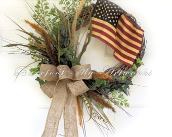 Rustic~FOURTH of JULY WREATH~Patriotic~Antiqued~Burgundy~American Flag~Burlap~Natural~Navy~Tan~Primitive~Neutral