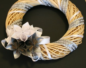 Wreath with origami bouquet and tape applications