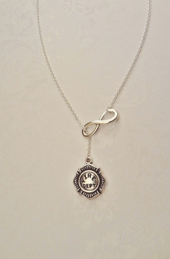 firefighter necklace with maltese cross lariat necklace with