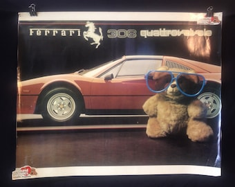 Ferrari 308 Quattrovalve Bear in Sunglasses Poster with Pound Puppies Stickers Cause Why Not?
