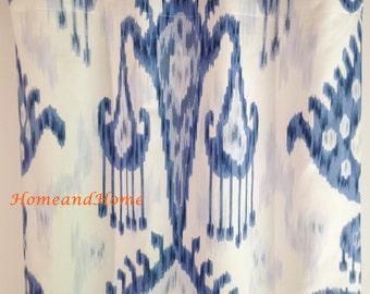 Ikat Curtains 50W One pair Indigo blue drapery panels designer window curtains Blue drapery, custom panels, custom drapery