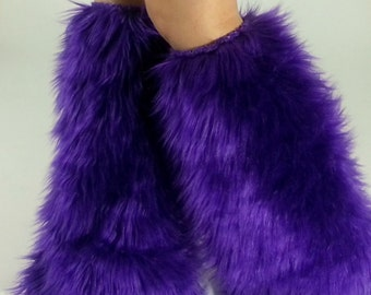 Purple Fur Legwarmers *below-the-knee* FREE SHIPPING: Furry Leg Warmers, Fur Boot Covers, Rave Fluffies, Unique Christmas Gift
