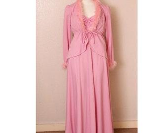 Vintage 60's-does-30's Pink Marabou Dress/Jacket Set, size Medium- mod, valley of the dolls, old hollywood, art deco