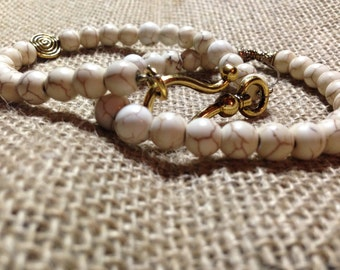 Rustic Pearl and Gold Bracelet Set