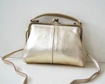 """Leather handbag """"Small Olive"""" in gold, vintage ladies bag, handbag, shoulder bag, genuine leather, leather bag, purse"""