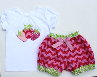 Strawberry Shortcake Shirt and matching bubble shorts outfit