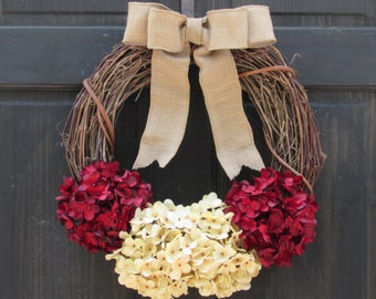Rustic Valentines Day Wreath, Valentines Day Door Decor, Rustic Christmas Wreath, Primitive Holiday Wreath, Christmas Mantel Decoration