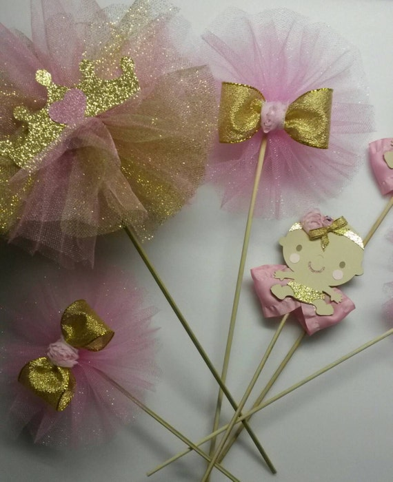 Pink gold centerpiece first birthday by fourdollysboutique