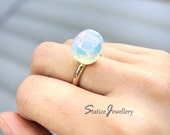 Raw Opal Ring, Natural Rough Milky Opalite, Raw Diamond Crystal Gold Plated Genuine Gemstone Ring, White Baby Blue Opal Simple Birthday Gift